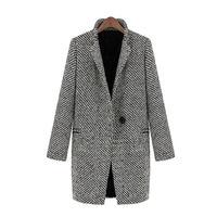 Autumn winter fashion long suit parka full sleeve warm OL style lady blazers single button femme coat jacket outwear oversized