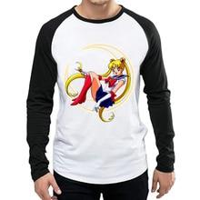 Long Sleeve Sailor Moon T Shirt Fashion Mens Anime T-shirt Tops Tees tshirt White Full For Unisex