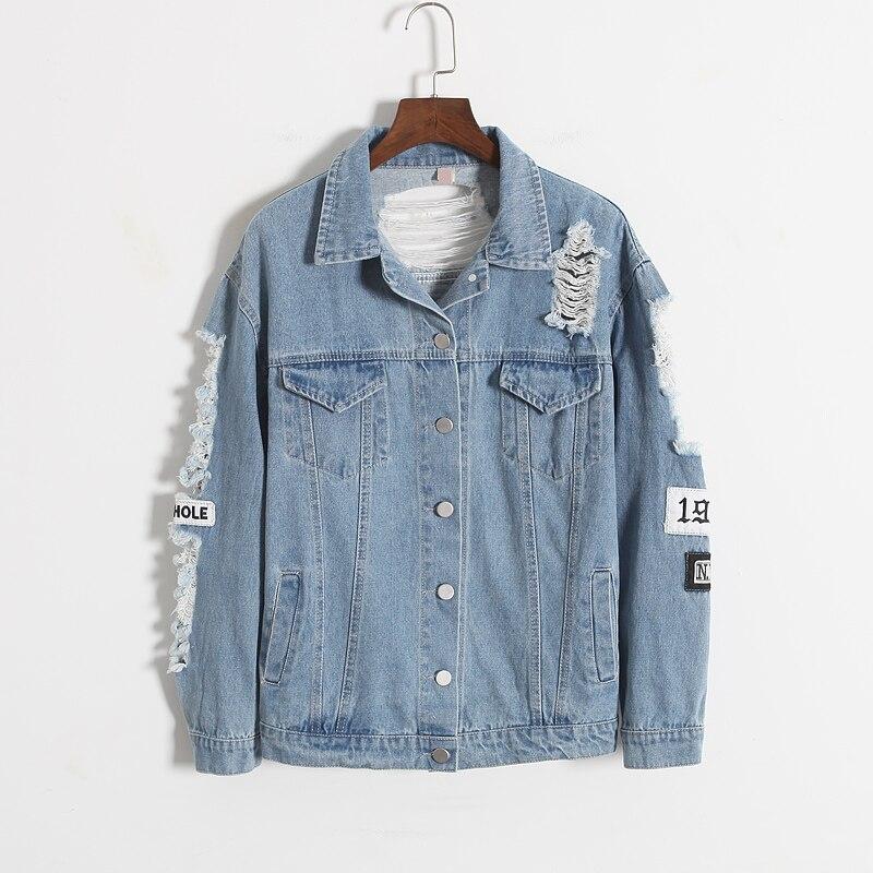 New Jeans Jacket Women Denim Broken BF Loose Jaqueta Feminina Jeans Women Basic Coats 6CT013 1