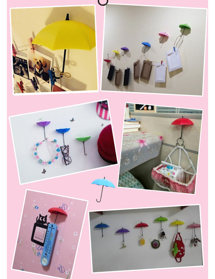 New Umbrella Wall Hook 3pcs/set Cute Umbrella Wall Mount Key Holder Wall Hook Hanger Organizer Durable Key Holder 2