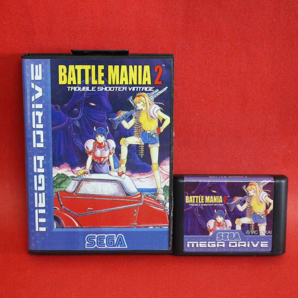 Battle Mania - Dai Gin Jou II 16 bit MD card with Retail box for Sega MegaDrive Video Game console system
