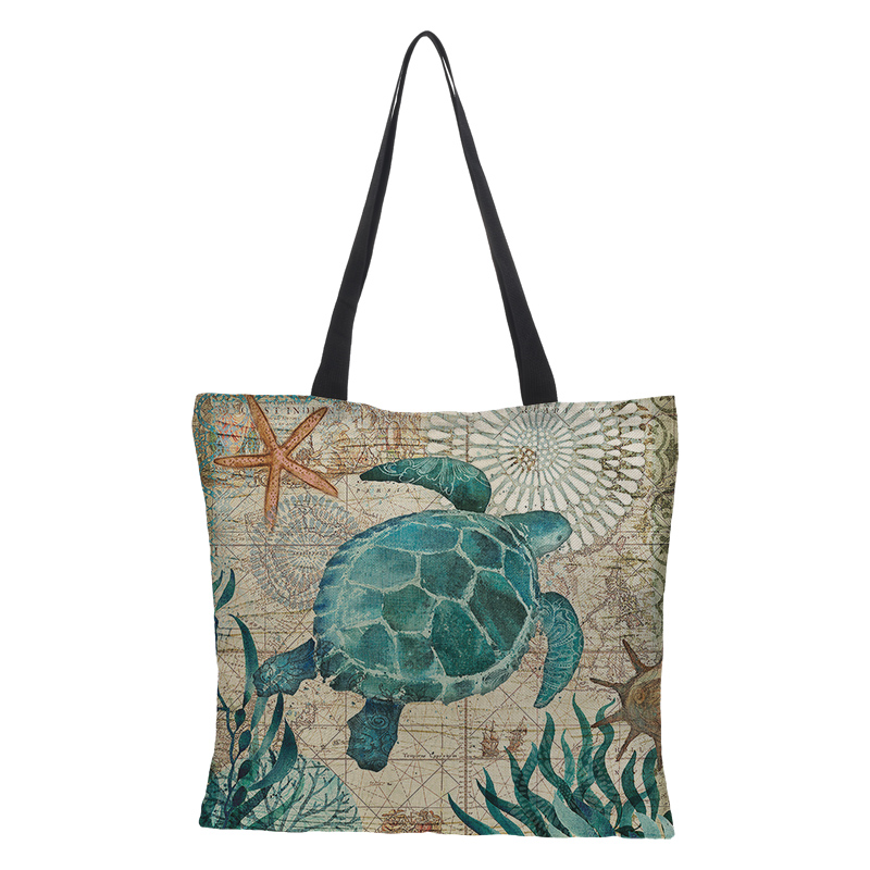 Customized ladies shopping bag reusable folding shoulder bag large-capacity double-sided printing marine turtle linen bag casual