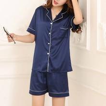 2019 Womens Short Sleeve Sleepwear Loungewear Silk Satin Pajamas Pyjamas Set Summer Suit Female Sleep Two Piece