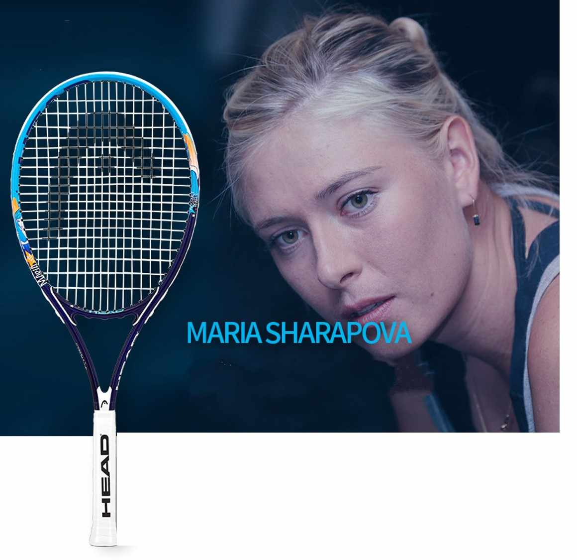 Head women Tennis Racket Sharapova raquete de tennis Carbon aluminum Fiber Top Material tennis string 8 colors L1 L2