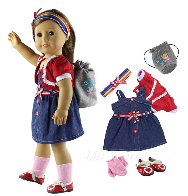 "6 PCS Set Doll Clothes Dress+coat+headwear+bag+socks+shoes Fashion Casual Wear Outfit for 18""American Girl Doll"