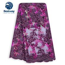 Bestway African Lace Fabric 2019 High Quality Lace Glitter Sequins Net Lace Tulle Mesh Fabrics Latest Purple Color Fabrics Laces(China)