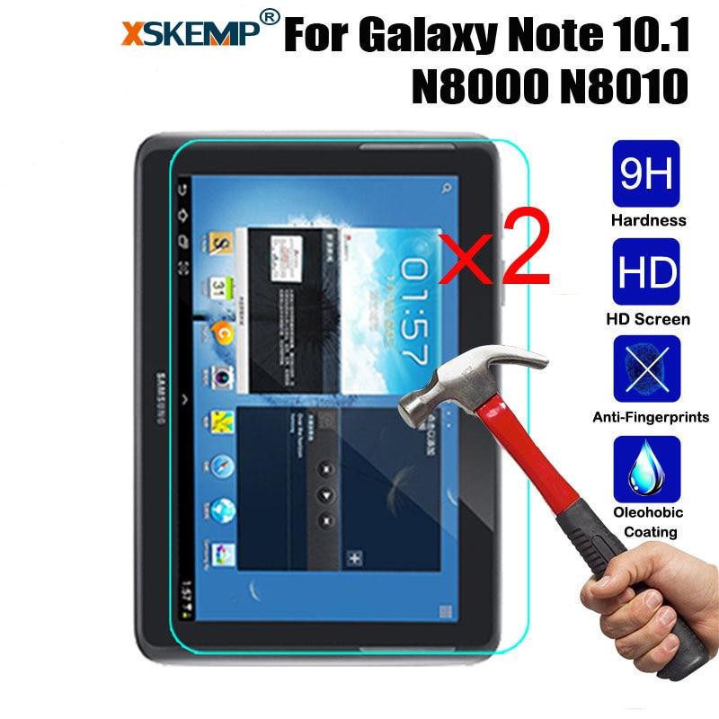 XSKEMP 2 Pcs/Lot 9 H Trempé Verre Film Pour Samsung Galaxy Note 10.1 N8000 N8010 Ultra Clear Tablet 0.3mm écran Protecteur Garde