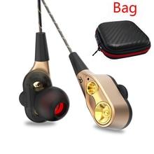 Dual Treiber Kopfhörer Super Bass Sport Headset Stereo Musik Kopfhörer Wired Earbuds in ear Ohrhörer Kopfhörer mit Mic