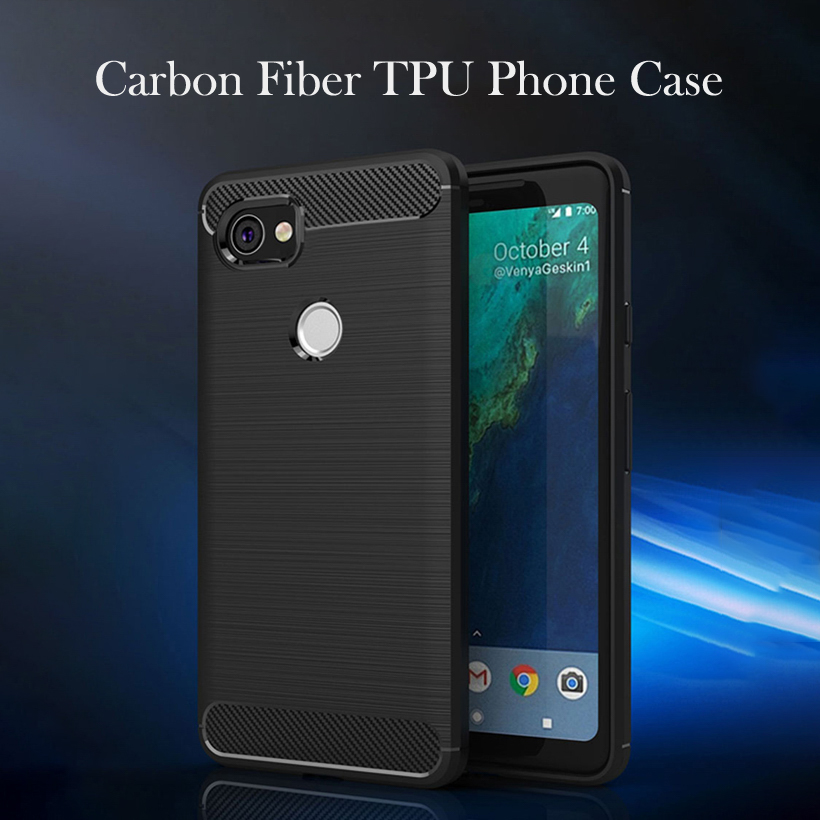 Carbon Fiber Case For Google Pixel 2 XL Case Silicone Soft TPU Black Drawing Cases For HTC Pixel 2 XL Cover 6.0 Inch