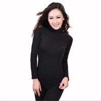 Nieuwe 2017 Dames naadloze hoge hals corset body winter lange mouwen warm tops zwart lange Onderbroek thermische ondergoed set groothandel
