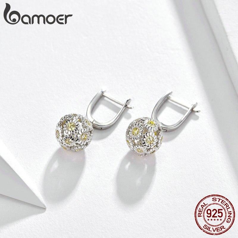 BAMOER Daisy Dangle Earrings Solid Silver 925 Enamel Flower Round Dangle Earing for Women Wedding Statement Jewelry BSE099