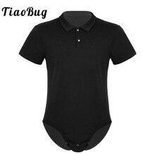 Мужская рубашка с короткими рукавами и отложным воротником с застежкой в промежности, боди, комбинезон, Пижама, Сексуальная мужская цельная Повседневная рубашка, костюм