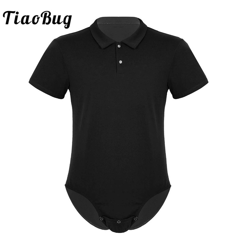 TiaoBug Men Short Sleeves Turn-down Collar Snap Crotch Shirt Bodysuit Romper Pajamas Sexy Male One-piece Casual Shirts Costume