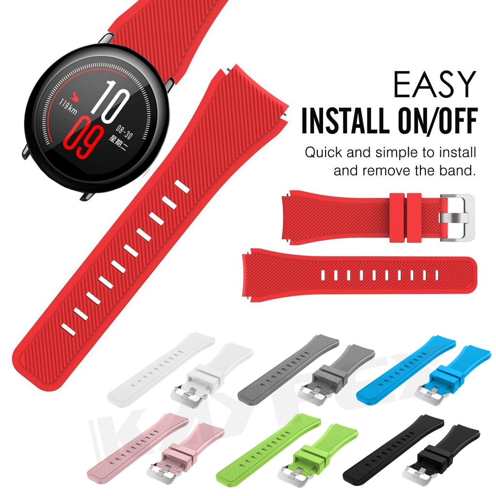 Colorful Watch Band Strap For Xiaomi Huami Amazfit Pace Silicone Bracelet Wrist Band For Amazfit  2/2S Stratos Pace Watch Strap