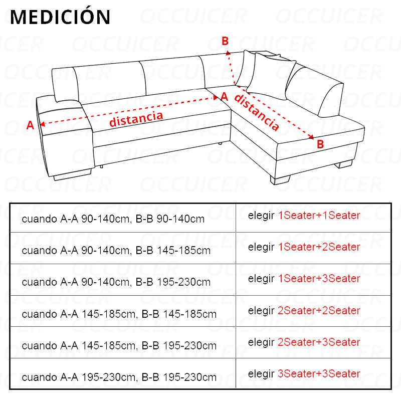 2 uds. Fundas para sofá en forma de L Universal tela elástica de Color sólido sofá de esquina elástico Anti-Ceniza decoración resistente
