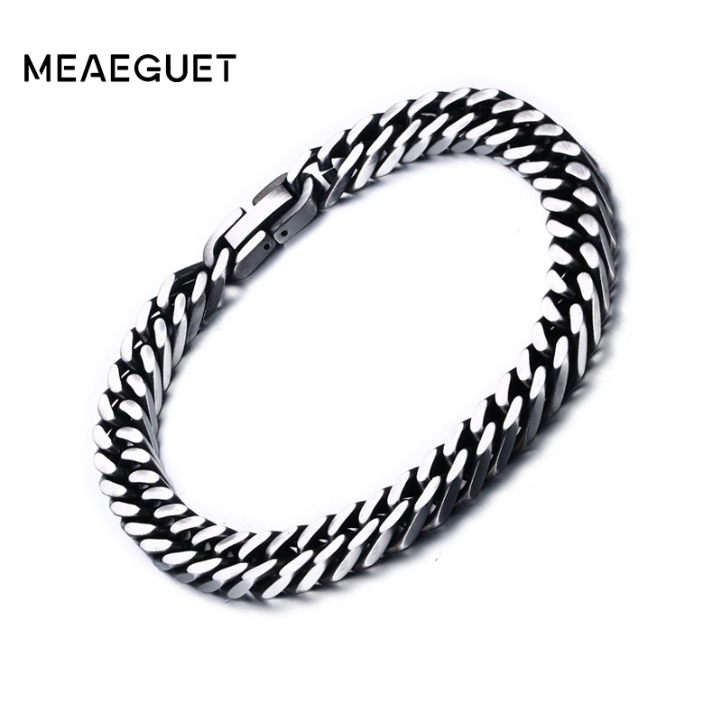 Meaeguet 8mm/10.5mm Wide Vintage Stainless Steel Chain Link Bracelet Men Jewelry Matte Finished Hand Chain Bracelet & Bangle