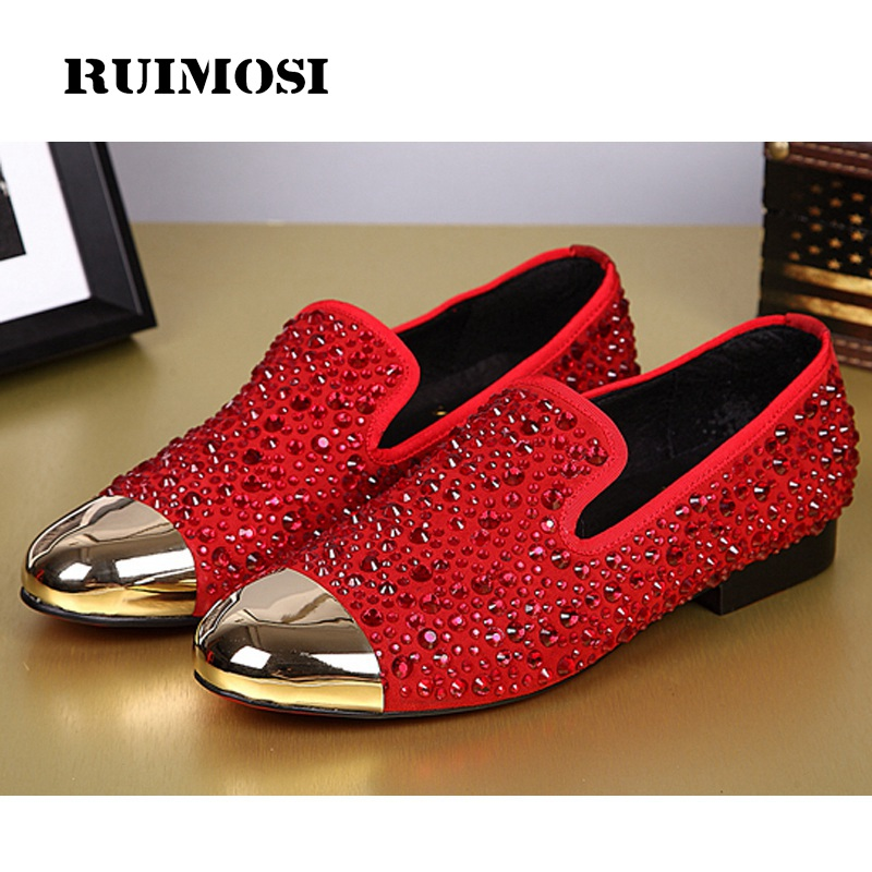 RUIMOSI Plus Size Luxury Rhinestone Man Bridal Loafer Shoes Suede Leather Round Toe Casual Runway Men's Punk Rocker Flats IK24