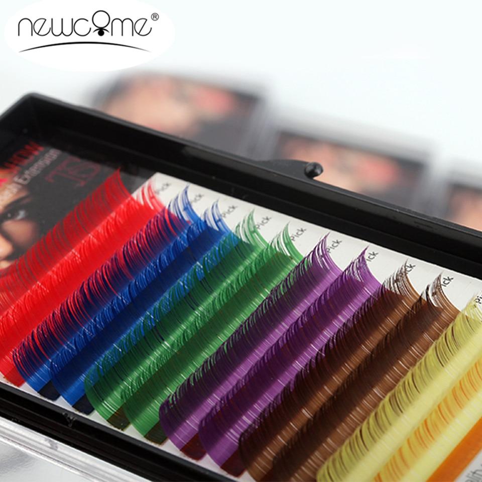 12Rows/Tray 6 Colors False Eyelash Extensions 0.10 C D Curl Natural 8-15 Mm Long Rainbow Lashes Free Shipping