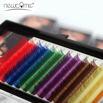 12Rows/Tray 6 Colors False Eyelash Extensions 0.10 C D Curl Natural 8-15 mm Long Rainbow Lashes Free Shipping
