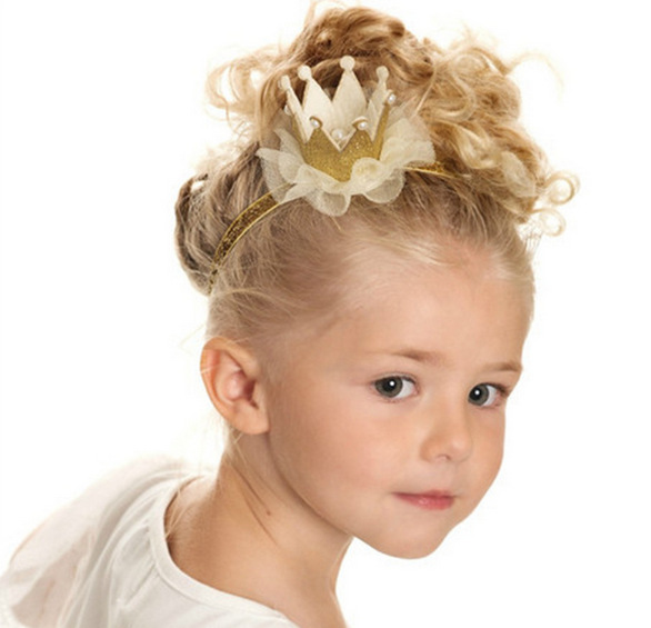 Baby Girl Party Cap Crown Headband Priness Style Hat Bow Baby Hair Accessories Baby Girl Bows Crown Elastic Headdress