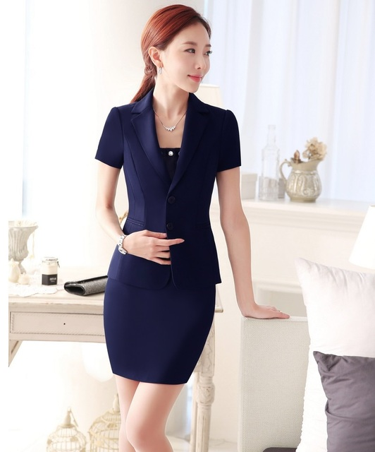 Plus Size New Professional Business Suits With Jackets And Skirt OL Styles Ladies Work Wear Outfits Blazers Dark Blue