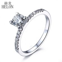 HELON Round 0.5ct Moissanites Ring Solid 14K White Gold Pave Natural White sapphire Engagement Wedding Ring For Women Jewelry