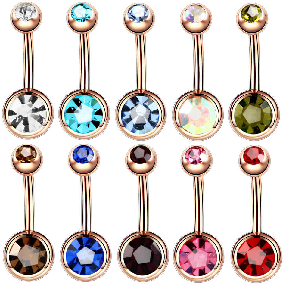 1PC Steel Tindik Ombligo 14G Tindik Pusar Pusar Tindik Nombril Rose Emas Anting-Anting Menjuntai Perut Barbel Tubuh perhiasan