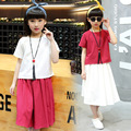 cotton teenage girls clothing set summer top t-shirt +long skirt 2016  clothes fashion kids  children outfit suit 2 pieces