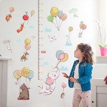 Лучший!  Милый Творческий Воздушный Шар Животных Ребенка Измерения Высоты Стикер Стены Малыш Спальня Шкаф