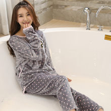 Winter Flannel Pyjamas Warm Female Winter Pajama Set Pink Dot Print Long Sleeve Full Trousers Two Piece(China)
