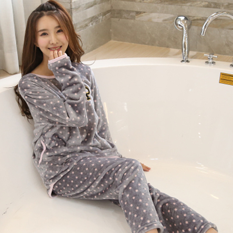 Winter Flannel Pyjamas Warm Female Winter   Pajama     Set   Pink Dot Print Long Sleeve Full Trousers Two Piece