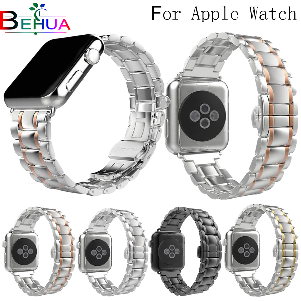 Stainless Steel watch Strap for apple watch band 42mm/38mm/44mm/40mm link bracelet Watchband for iWatch 4/3/2/1 metal wrist belt jansin strap band for apple watch 40mm 44mm 42mm 38mm for iwatch 3 2 1 stainless steel watch band link bracelet watchband strap