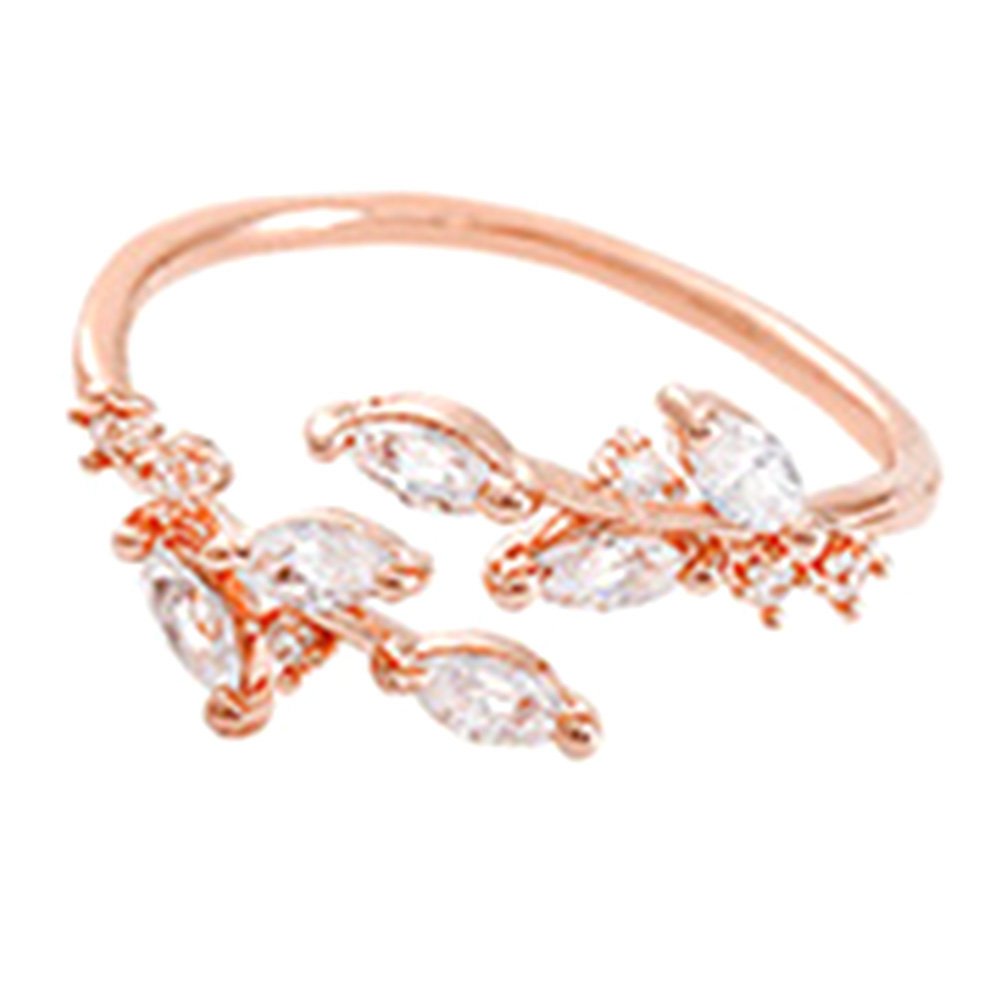 Fashion Female Rings Multicolor Leaf Openings Ring Elegant Flower Crystal Finger Ring Ladies Jewelry Accessories