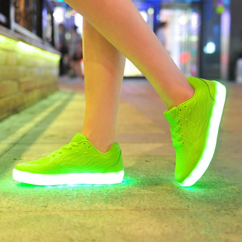 ผู้หญิง Led ส่องสว่างรองเท้าผ้าใบหญิง Air ตาข่าย Up Casual รองเท้าเรืองแสงผ้าใบชาร์จ USB ตะกร้านีออน Sole