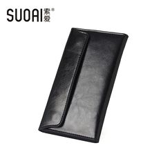 SUOAI 100%Genuine Leather Wallet Women High Quality Long Purse More Card Holder Simple Female Wallets