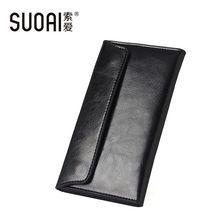 SUOAI  Genuine Leather Wallet Women High Quality Soft Long Purse Fashion Female Wallets Card Holder