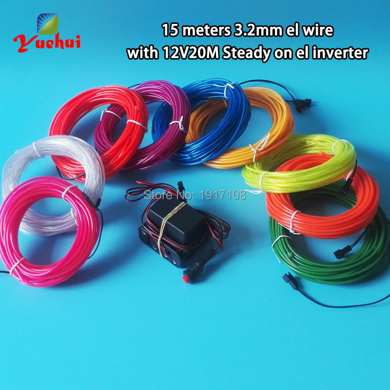 Fashion 3.2mm 15Meter 10 Colors optional Energy saving EL wire rope cable Neon glow light Powered by DC12V Party decoration