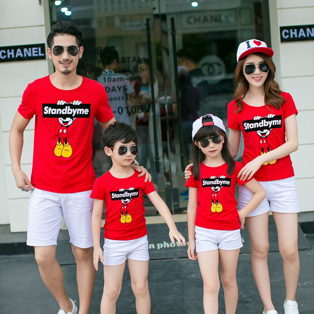 summer 2017 new  tshirts family park clothes Dad Mom Baby short sleeve t-shirts wholesale children clothing D821