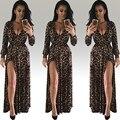 Европа Лето Стиль 2016 Новый Женщины Dress V-образным Вырезом Длинные Dress Sexy ночной клуб Сплит Леопардовый Макси Dress Vestidos Плюс Размер