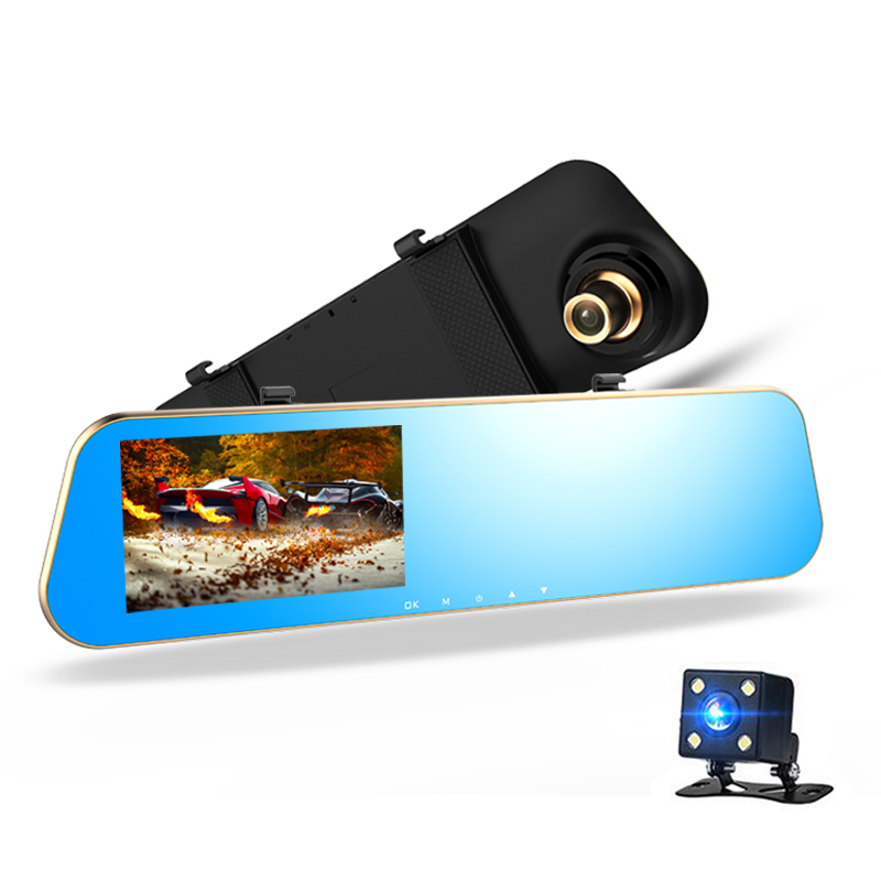 4.3  Dash Camera Car DVR Full HD 1080P Rear View Mirror with Dual Lens Camera Night Vision Dash Cam Dvr Digital Video Recorder rockbros pc eps skiing helmets ultralight integrally molded skating ski helmet snowboard thermal skateboard helmets sport safety