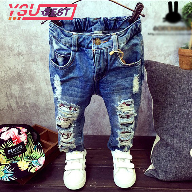 New Jeans Kids Children Broken Hole Pants Trousers 2018 Baby Boys Girls Jeans Brand Fashion Autumn 2-7Yrs Kids Trousers Clothes new brand fashion stretch mens jeans blue and white chinese porcelain printing jeans men casual slim fit trousers jpt003