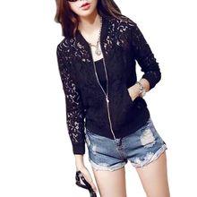 New Arrivel Women Lace Zipper Thin Jacket Long Sleeve Crochet Coat Cardigan Tops Outwear