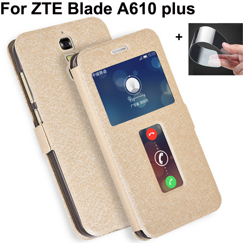 Open window PU leather case For <font><b>ZTE</b></font> <font><b>Blade</b></font> A610 plus cover shell For <font><b>ZTE</b></font> <font><b>Blade</b></font> BV0730 cases flip case For <font><b>ZTE</b></font> <font><b>A610plus</b></font> back cover image