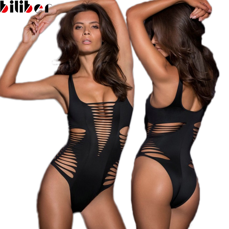 b6a76cdef9 Ladies Summer Hollow Out Monokini swimwear One Piece Swimsuit Sexy women  bathing suit cut out monokini black red bikini