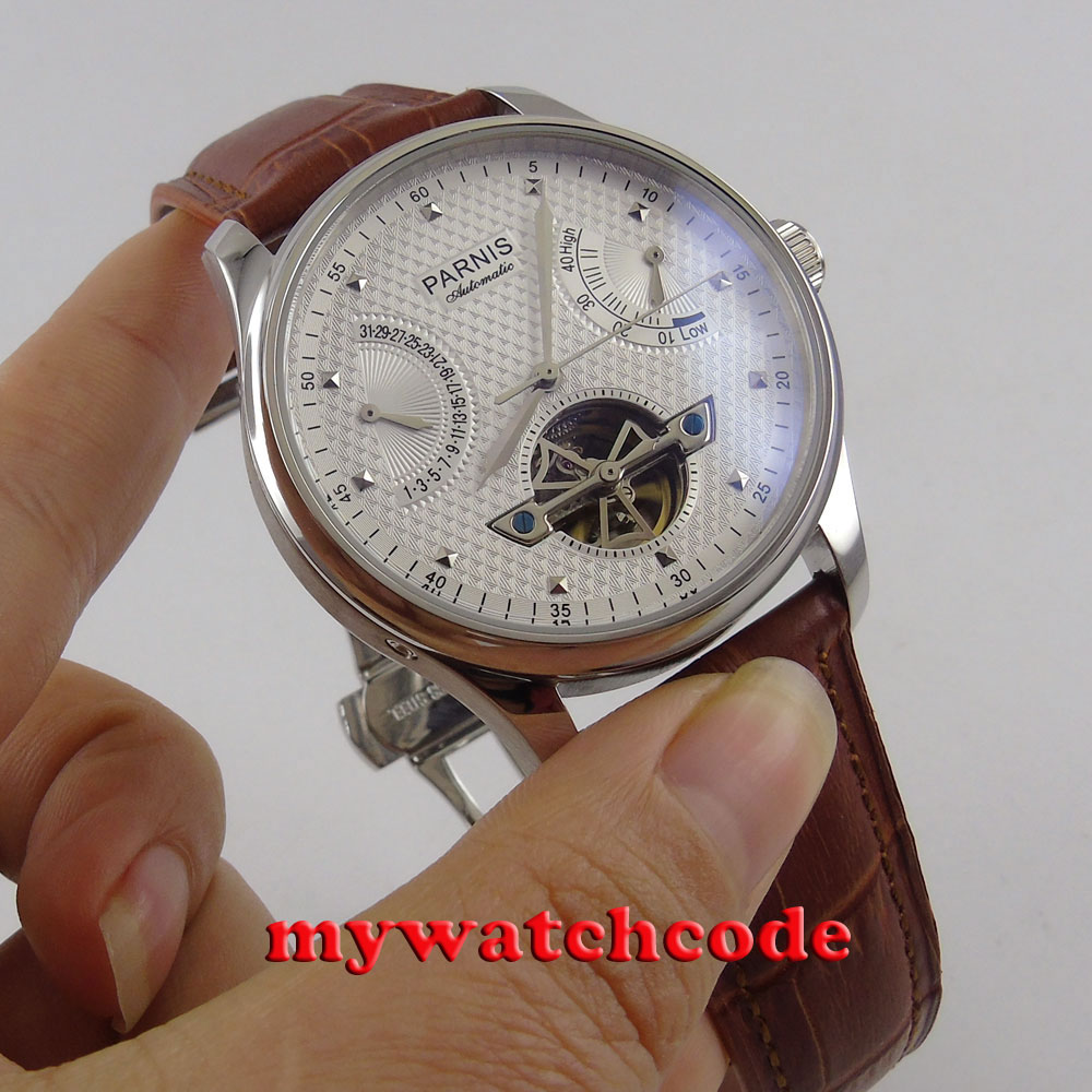 43mm parnis white dial brown leather strap power reserve indicater deployment clasp sea-gull 2505 automatic mens watch P413