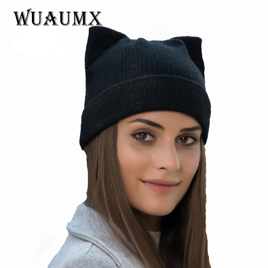 Wuaumx Women's Winter Hat Beanies Cat Hat Female Skullies Thick Warm Wool Knitted Outdoor Cap Casual Ladies Bonnet Chapeau skullies beanies the new russian leather thick warm casual fashion female grass hat 93022