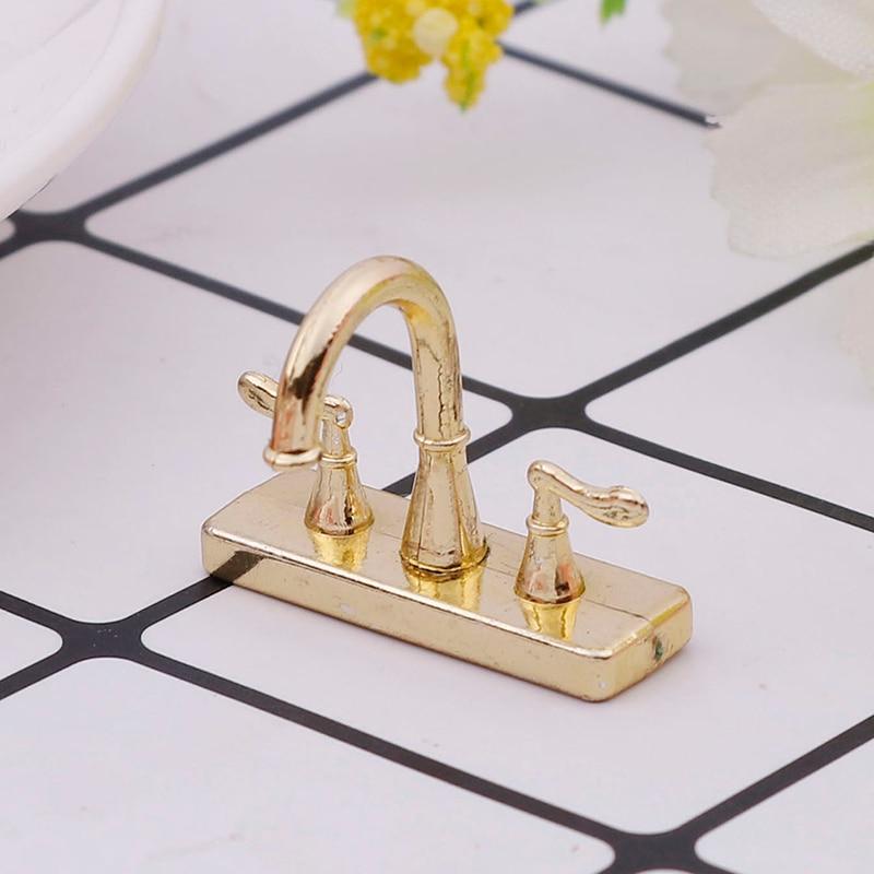 1Pcs  1/12 Dollhouse Alloy Bathtub Faucet Simulation Water Tap Model Furniture Toys For Doll House Decoration Miniature Acc