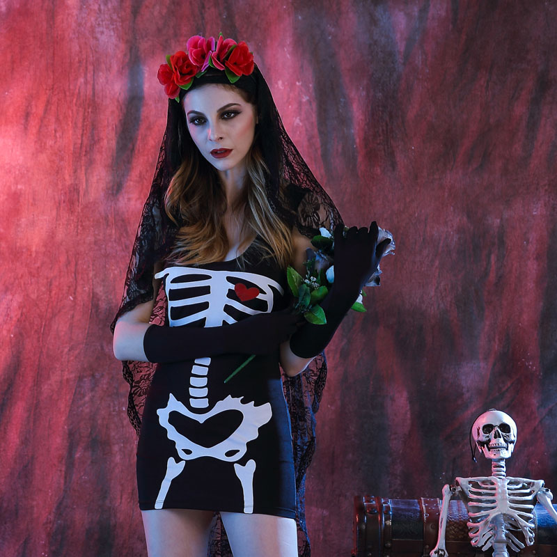 Halloween Looks Scary.Us 23 35 27 Off Scary Halloween Costumes Women Vampire Halloween Clothes Saints Day Fantasia Dress Witch Costume Festival Dia De Los Muertos In