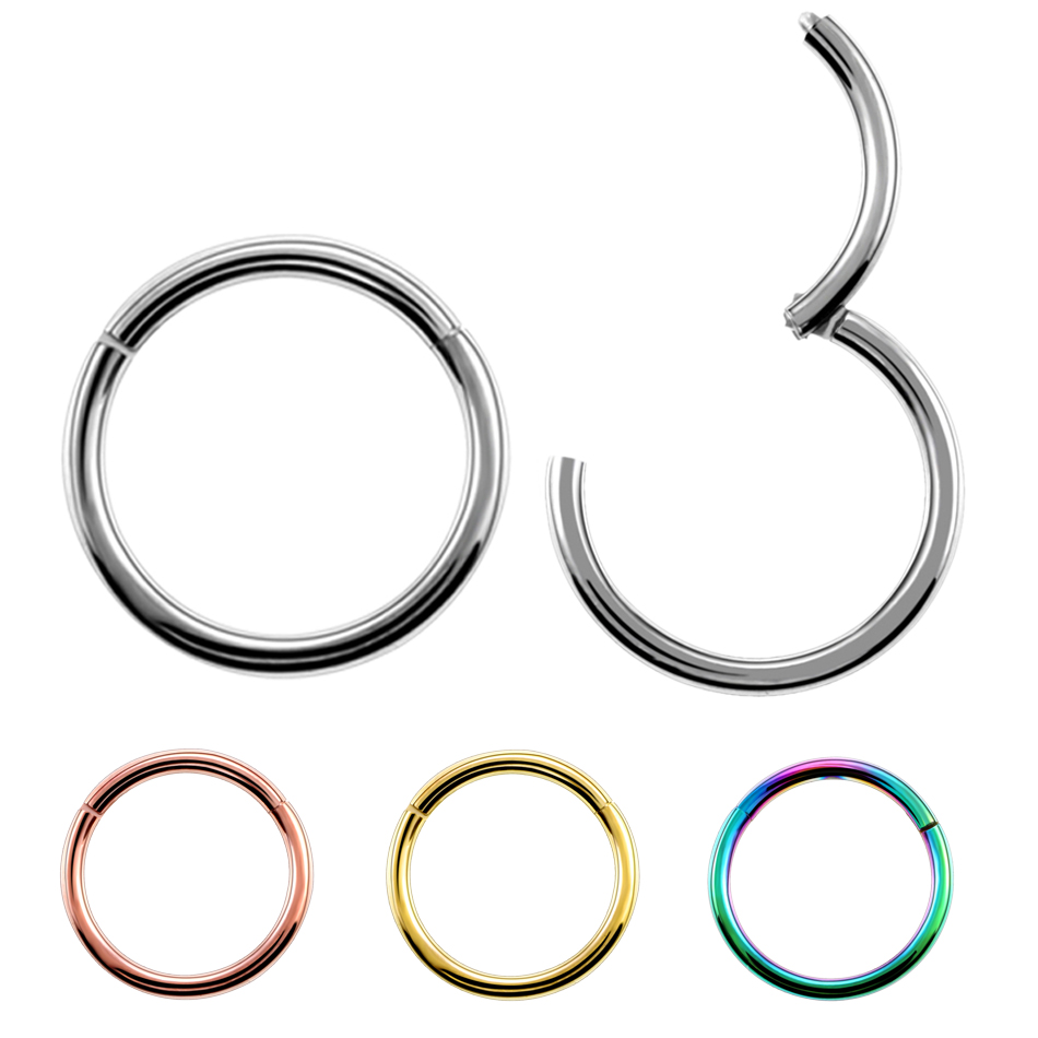 Choose Color Amelia Fashion 16 Gauge 5 CZ Inlay Nose Septum//Ear Cartilage Clicker Ring 316L Surgical Steel