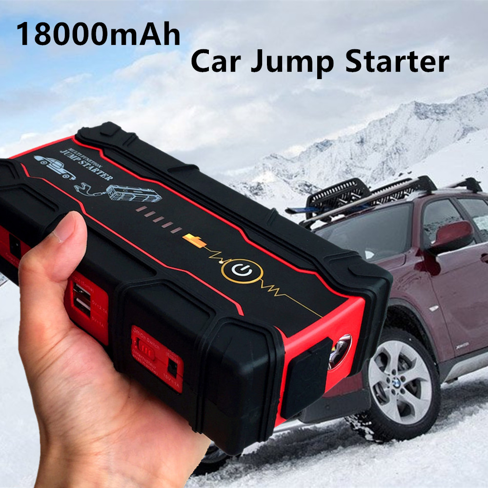 Portable 18000mAh Starting Device Super Car Jump Starter 12V 800A Car Charger For Car Battery Booster Buster 2USB Power Bank LED multi function 18000mah car jump starter 800a 12v portable starting device power bank car charger for car battery auto starter